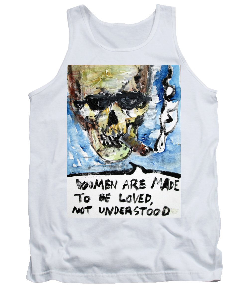 Skull Tank Top featuring the painting Skull Quoting Oscar Wilde.6 by Fabrizio Cassetta