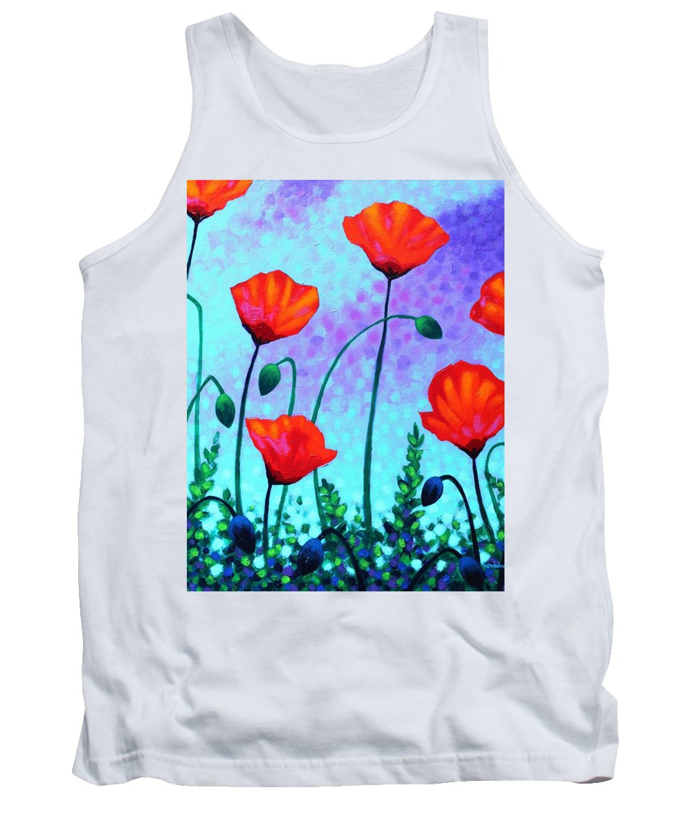 Acrylic Tank Top featuring the painting Sky Poppies by John Nolan