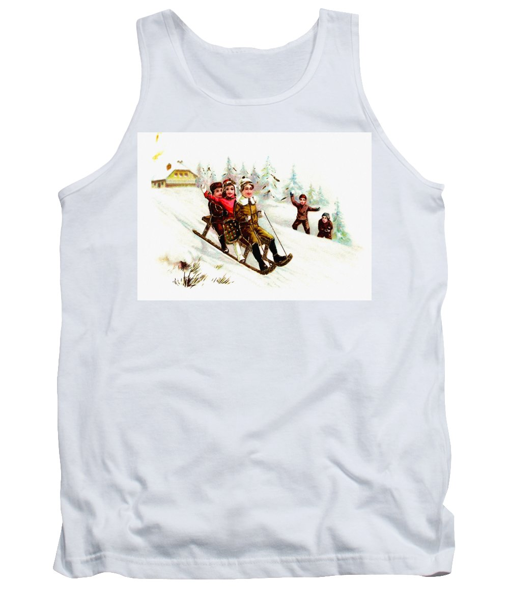 Sleigh Ride Tank Top featuring the digital art Sleigh Ride by Bill Cannon