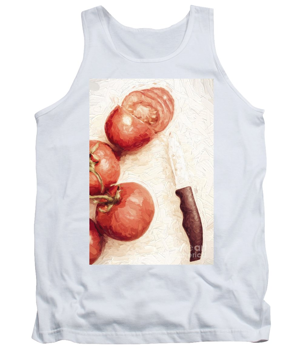 Knife Tank Top featuring the digital art Sliced Tomatoes. Vintage Cooking Artwork by Jorgo Photography - Wall Art Gallery