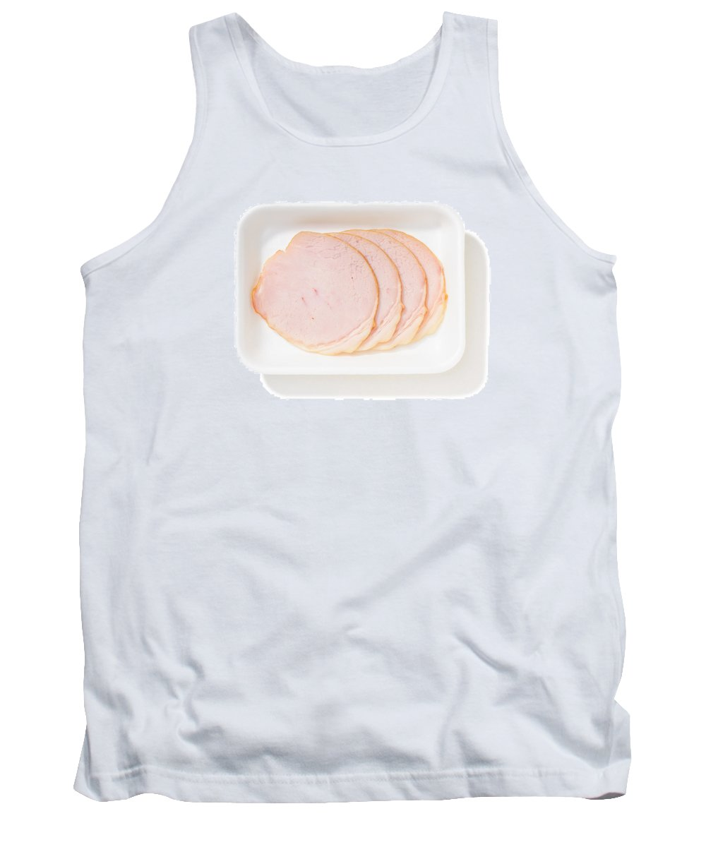 Background Tank Top featuring the photograph Slices Of Roll Ham With Rind by Alain De Maximy