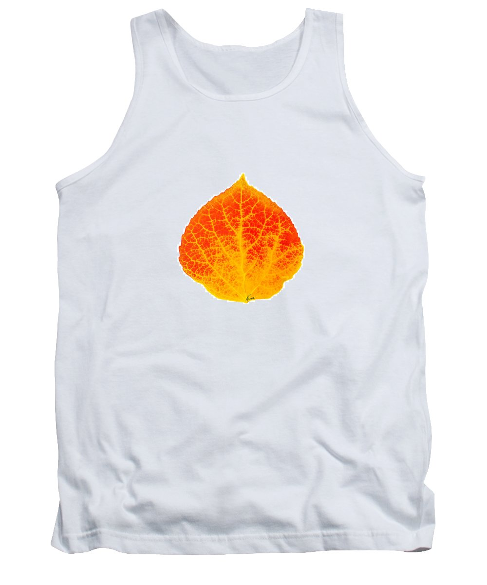 Aspen Leaf Tank Top featuring the digital art Small Red And Yellow Aspen Leaf 1 - Print Version by Agustin Goba