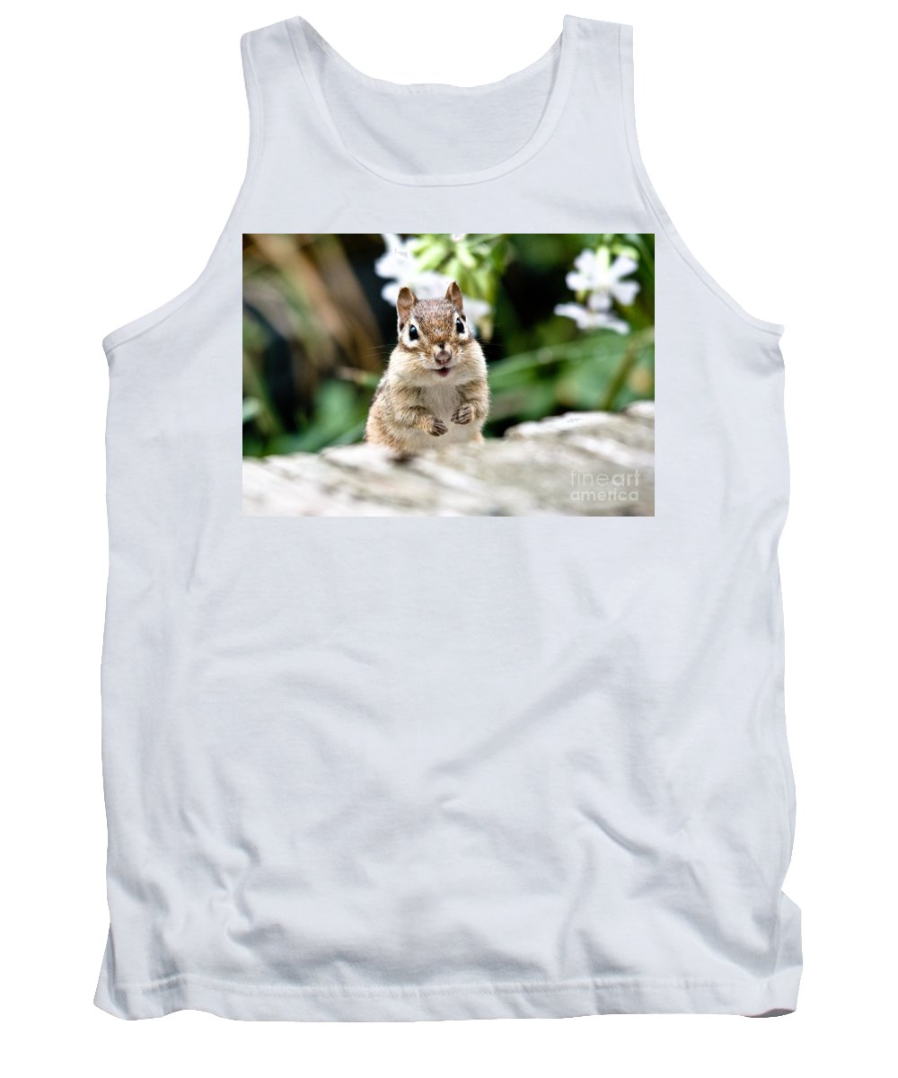 Chipmunk Tank Top featuring the photograph Smiling Chipmunk by Cheryl Baxter