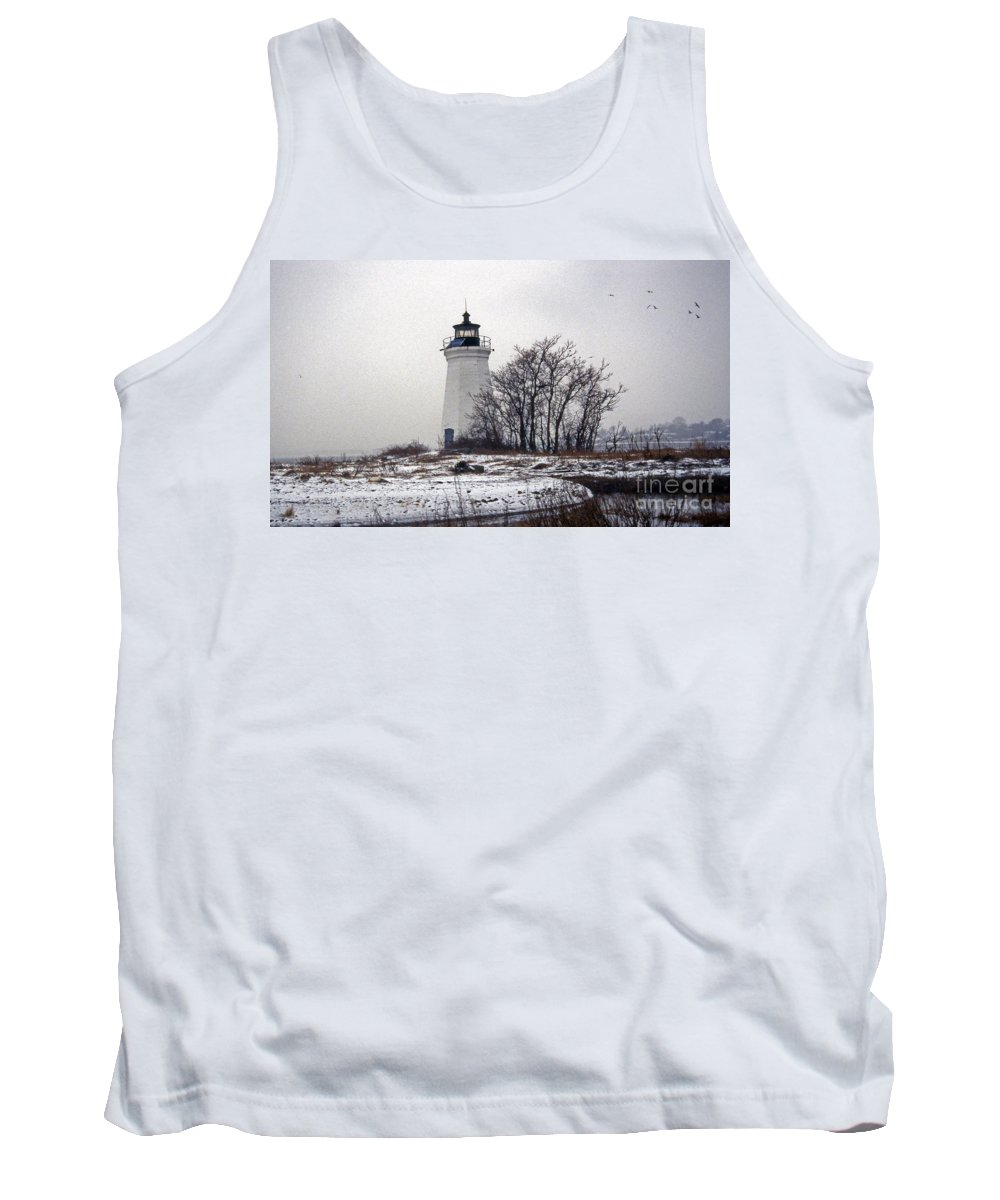 Lighthouses Tank Top featuring the photograph Snow And Ice by Skip Willits