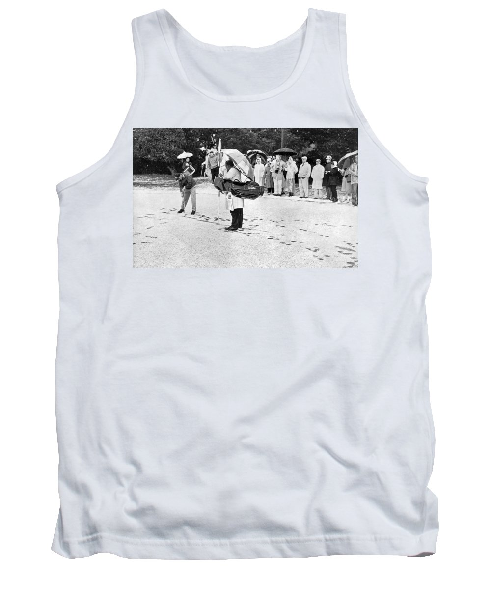 1950s Tank Top featuring the photograph Snow At Pebble Beach. by Underwood Archives