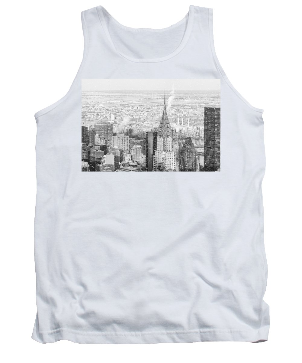 Nyc Tank Top featuring the photograph Snow - Chrysler Building And New York City Skyline by Vivienne Gucwa