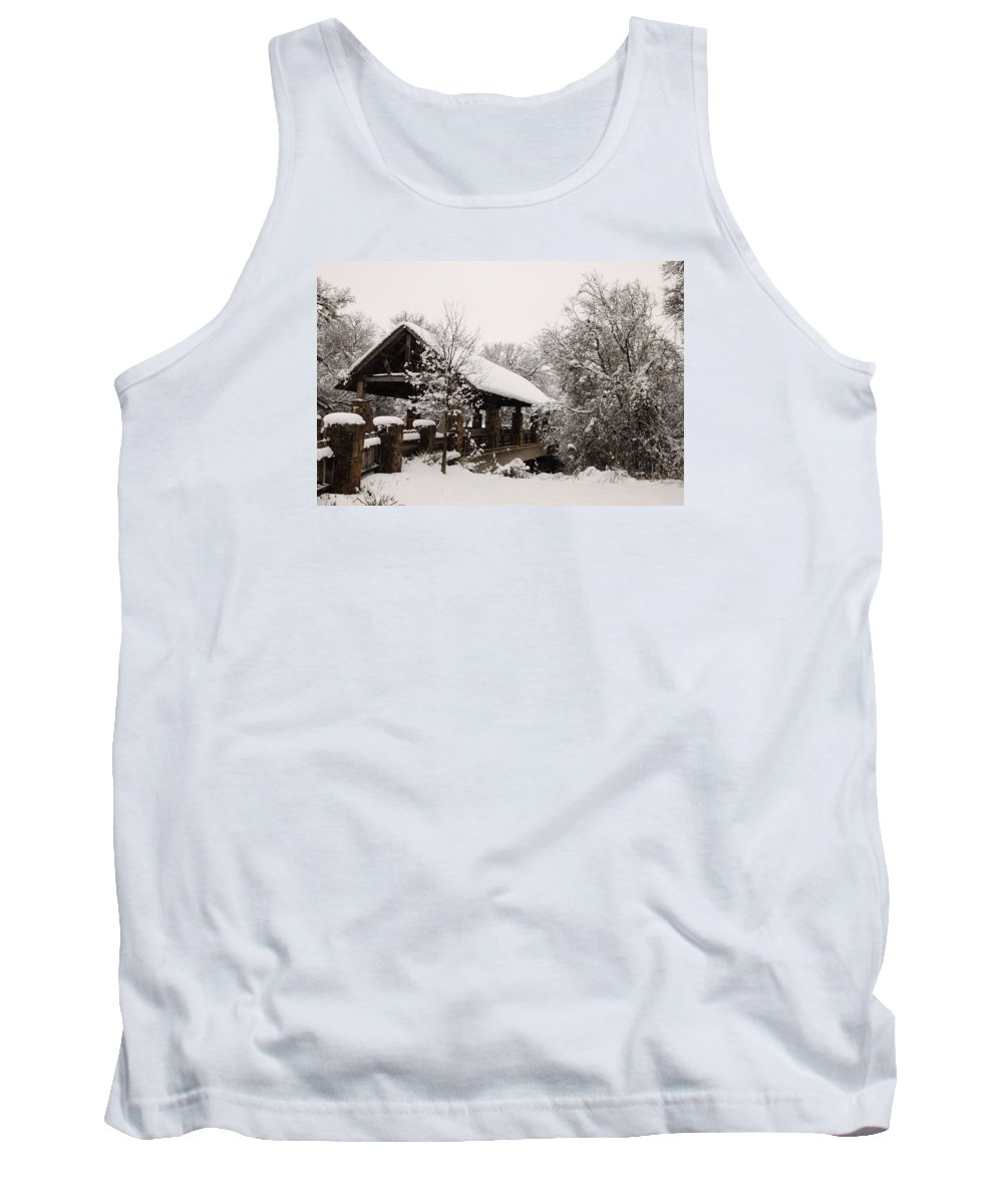 Bridge Tank Top featuring the photograph Snow Covered Bridge by Robert Frederick