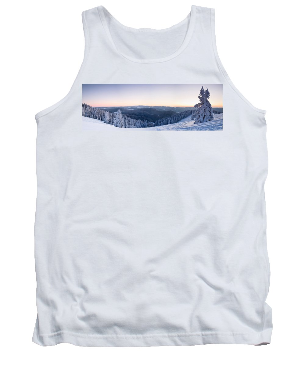 Photography Tank Top featuring the photograph Snow Covered Trees On A Hill, Belchen by Panoramic Images