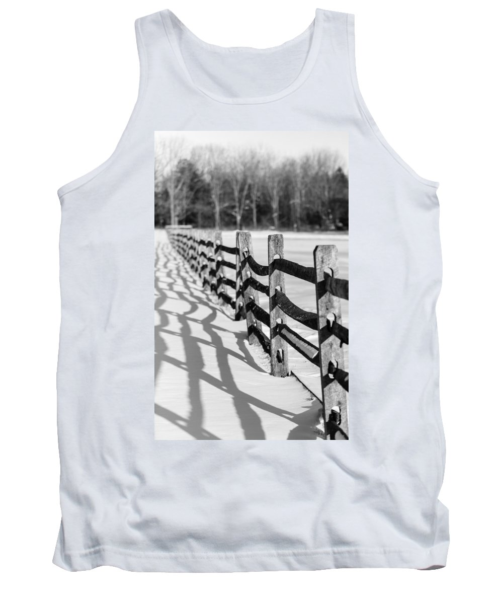Fence Tank Top featuring the photograph Snow Fence by Scott Hafer