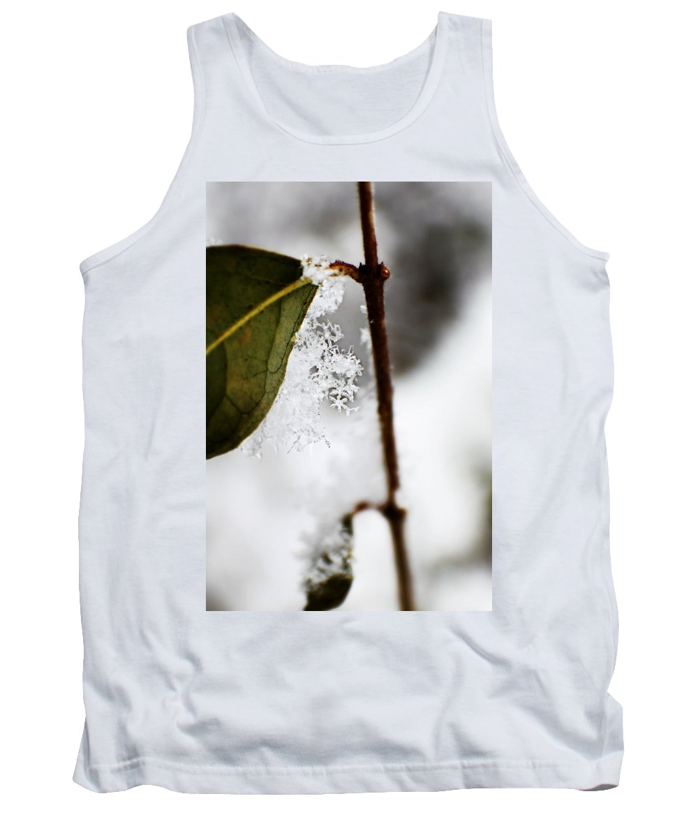 Snow Tank Top featuring the photograph Snow Flakes by Tina Meador