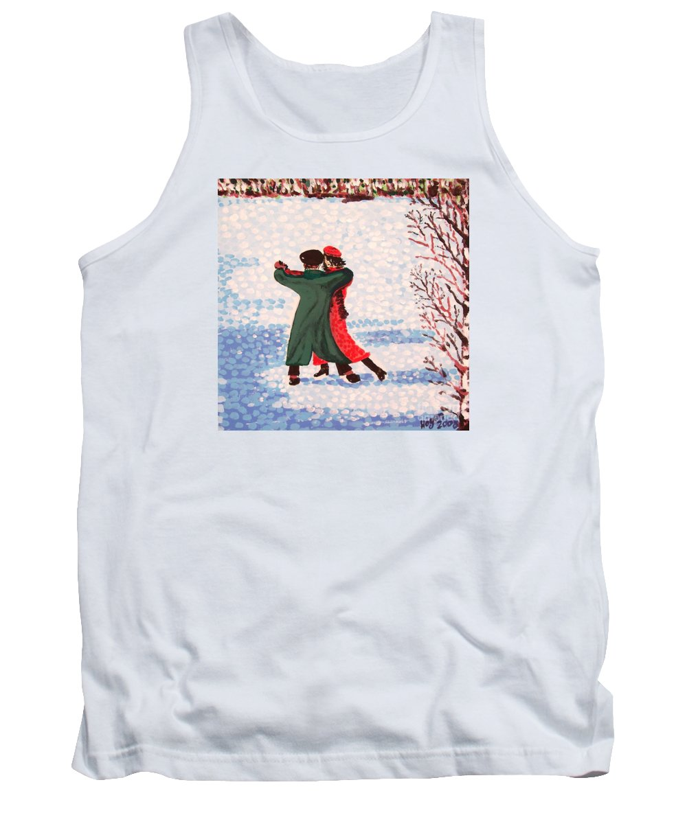 Snow Tank Top featuring the painting Snow Tango by Alan Hogan