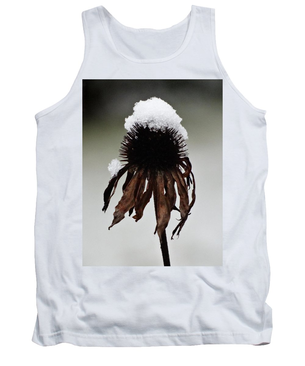 Snowcapped Coneflower Tank Top featuring the photograph Snowcapped Coneflower by David T Wilkinson