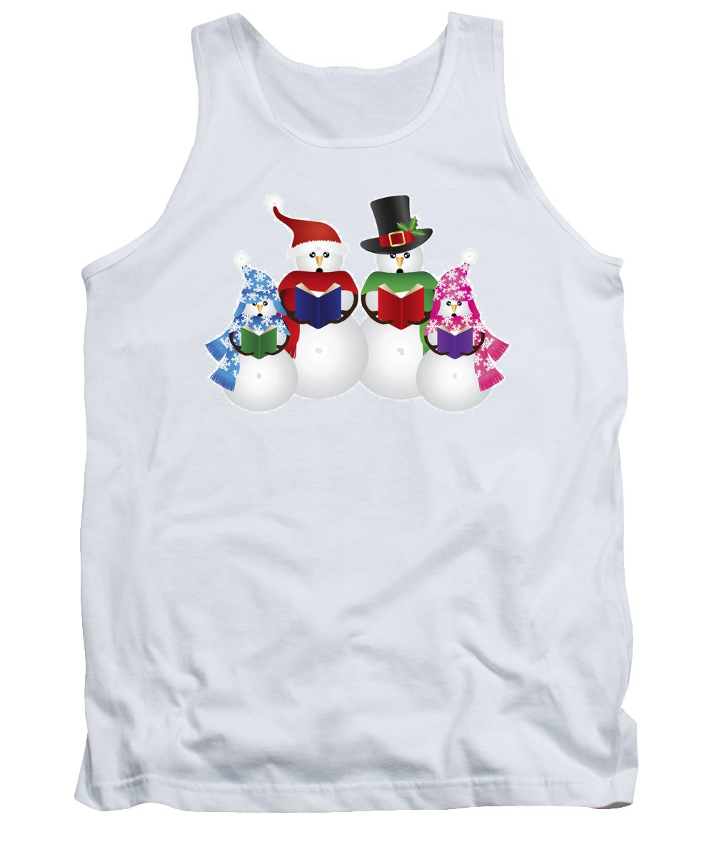 Snowman Tank Top featuring the photograph Snowman Christmas Carolers Illustration by Jit Lim