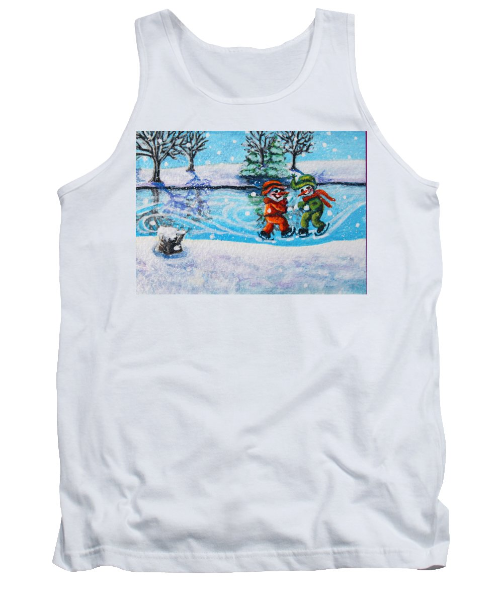 Skating Party Tank Top featuring the painting Snowman Friends Ice Skating P2 by Mary Nicholson