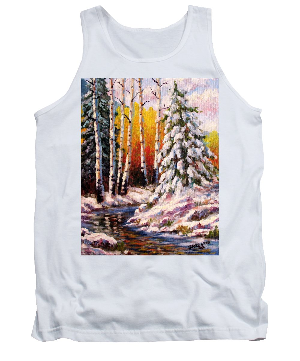 Snow Tank Top featuring the painting Snowy Banks by David G Paul