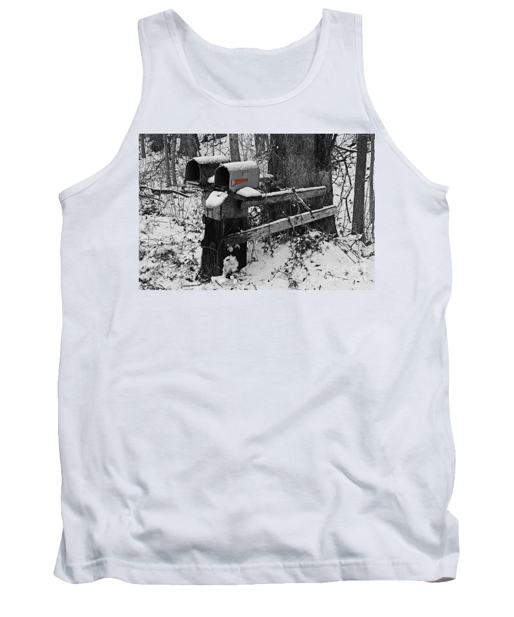 Rural Tank Top featuring the photograph Snowy Mailbox Sc by Mary Carol Story