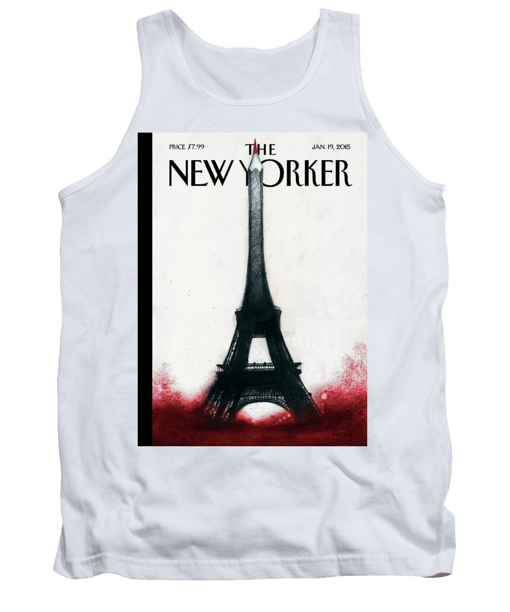 Charlie Hebdo Tank Top featuring the painting Solidarite by Ana Juan