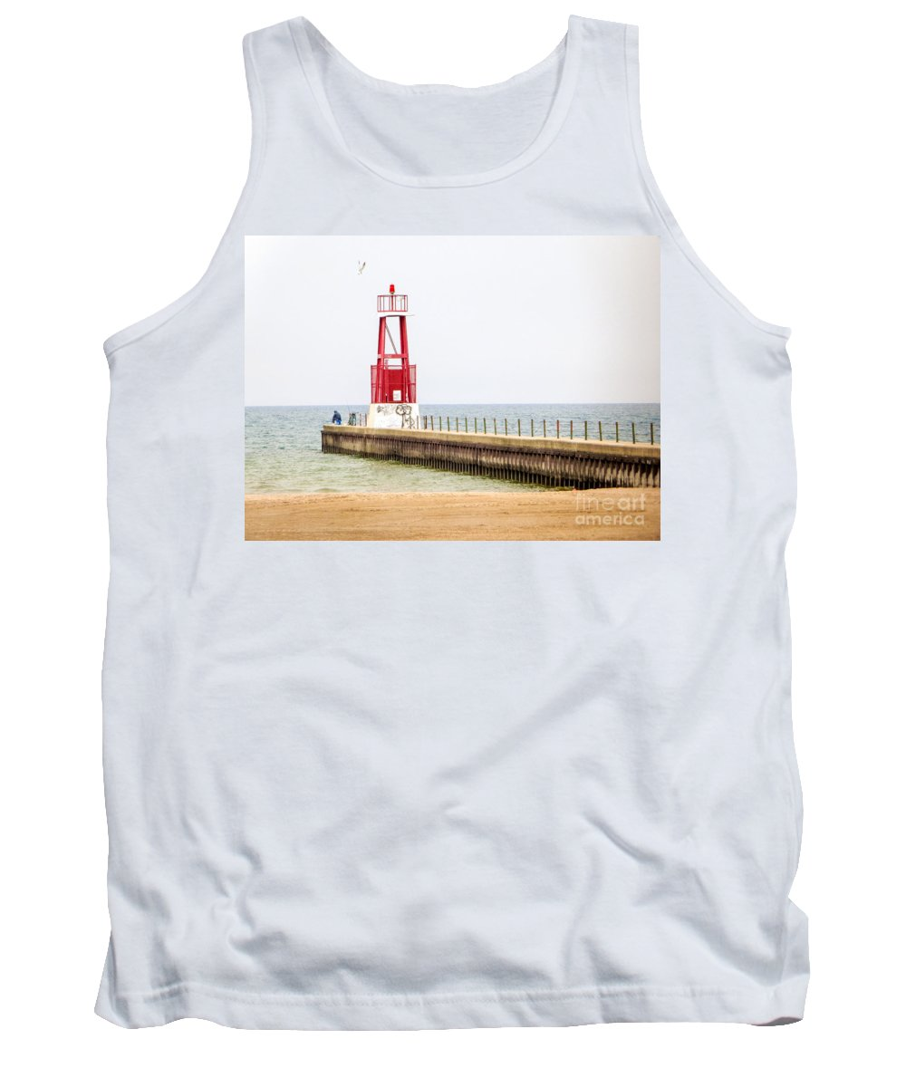 Pier Lighthouse Chicago Shore-line Tank Top featuring the photograph Solitude by Lisa Richards