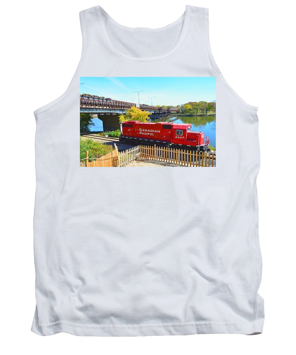 Solo Tank Top featuring the photograph Solo Red Canadian Pacific Engine Along Rock River In Rockford by Jeff at JSJ Photography