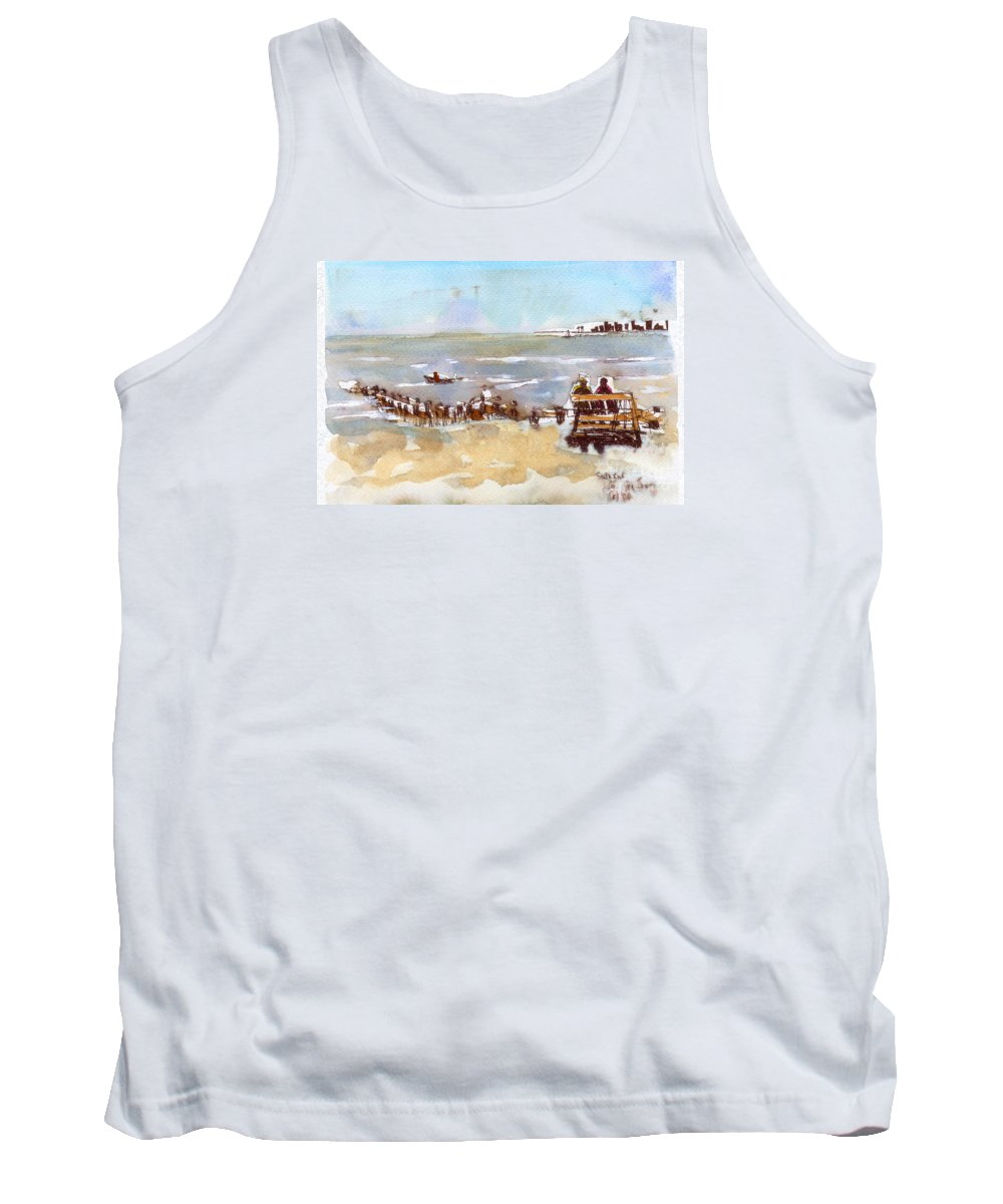 Seascape Tank Top featuring the painting South Bench Lbi by Carolyn Curtice