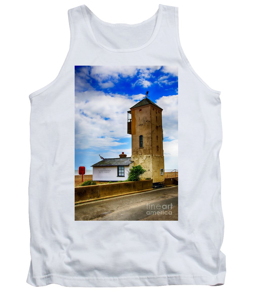 Aldeburgh Canvas Tank Top featuring the photograph South Lookout Tower Aldeburgh Beach by Chris Thaxter