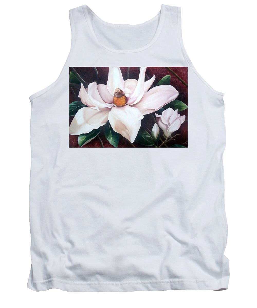 Magnolia Southern Bloom Floral Botanical White Tank Top featuring the painting Southern Beauty by Karin Dawn Kelshall- Best