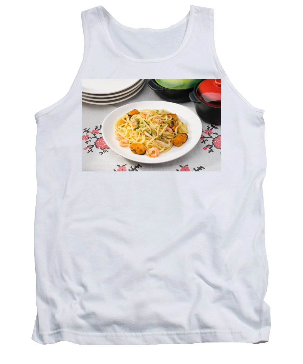 Cuisine Tank Top featuring the photograph Spaghetti With Sea Food by Alain De Maximy