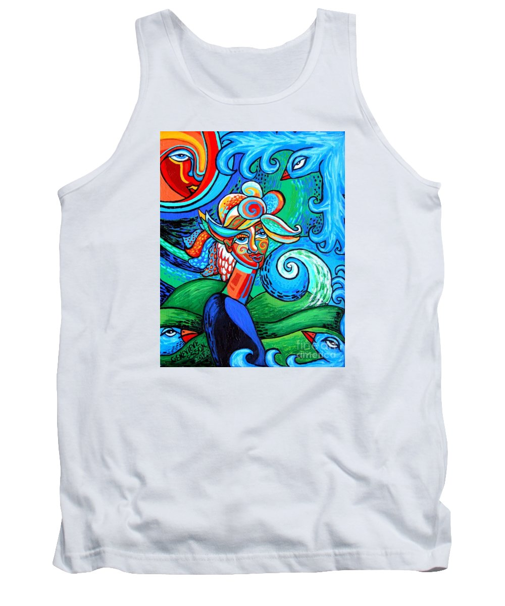 Woman Tank Top featuring the painting Spiral Bird Lady by Genevieve Esson