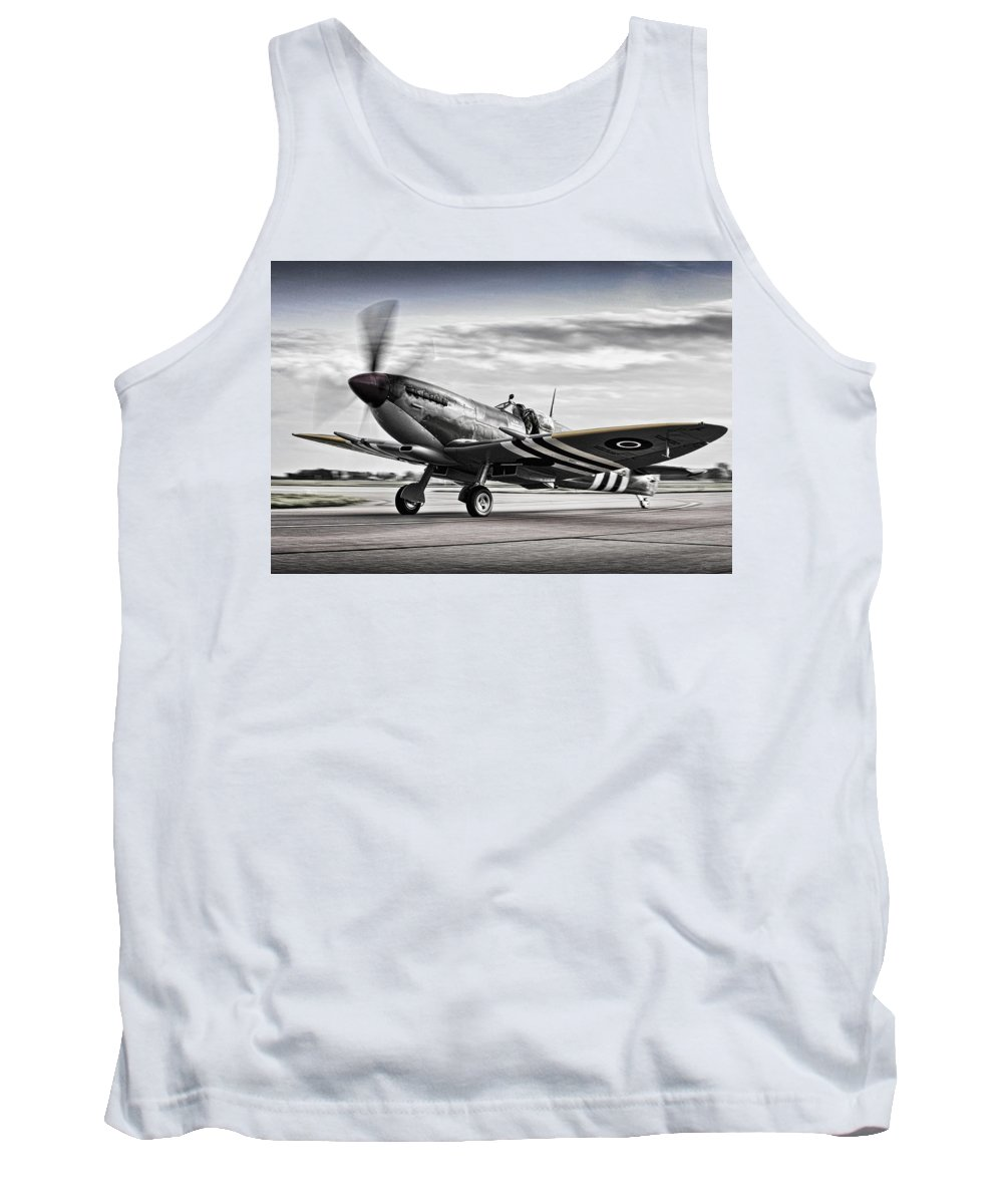 Bbmf Tank Top featuring the photograph Spitfire Warming Up For D Day by Paul Fearn