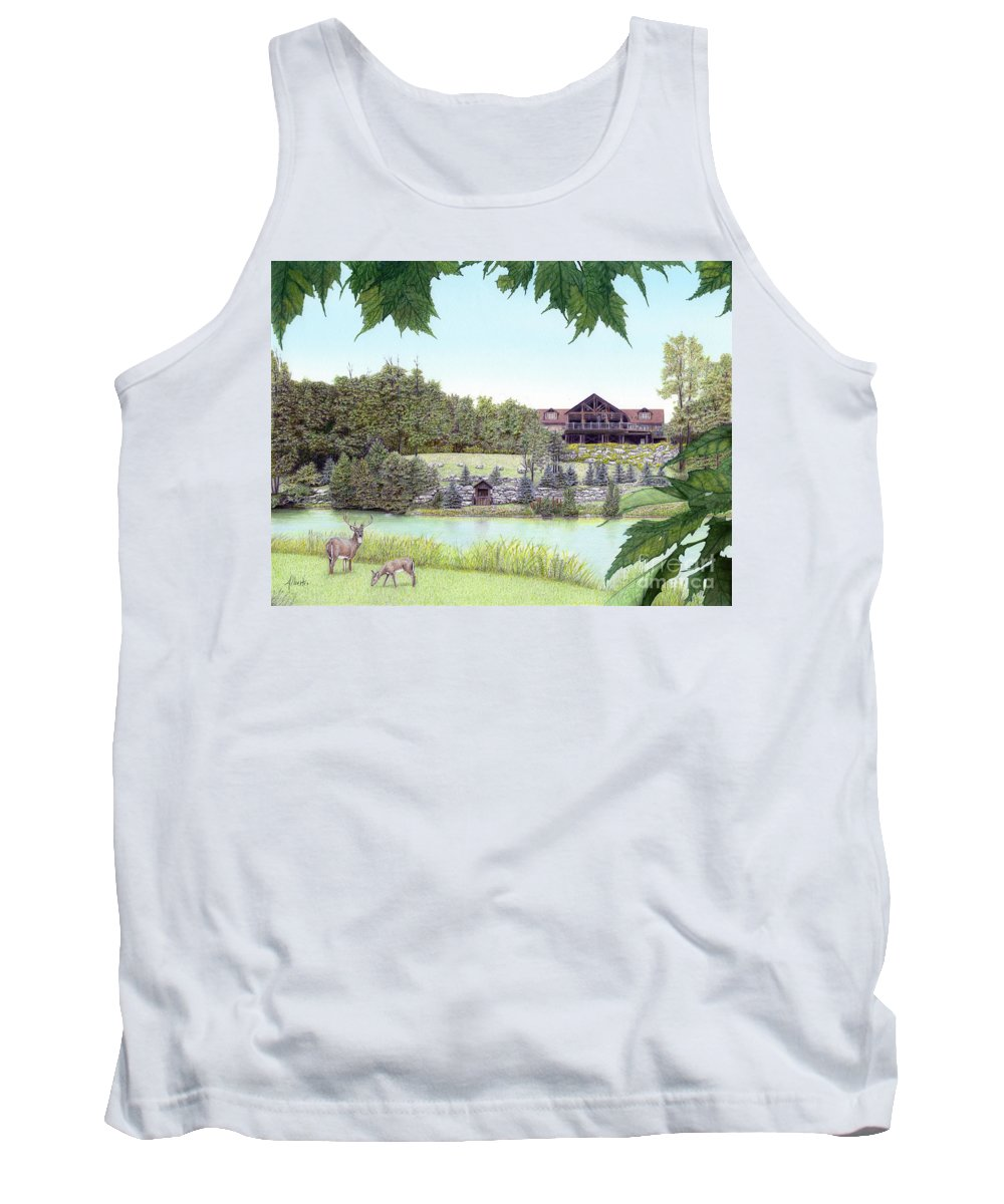Sporting Clays Tank Top featuring the painting Sporting Clays At Seven Springs Mountain Resort by Albert Puskaric