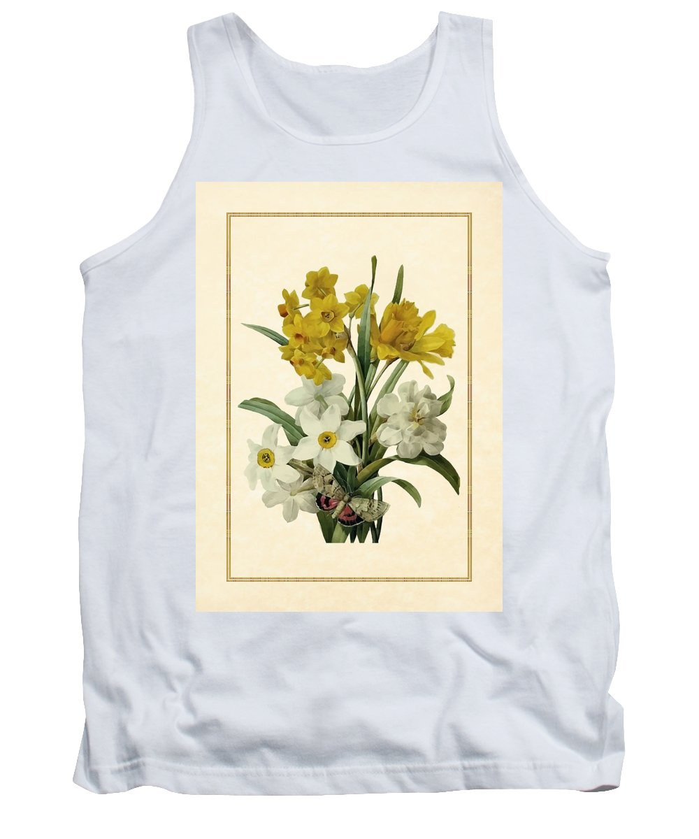 Antique Vintage Traditional Flower Floral Botanical Realistic Formal Plant Trees Tank Top featuring the painting Spring Bouquet Of Daffodils And Narcissus With Butterfly Vertical by Elaine Plesser