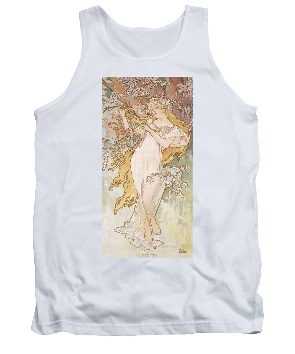 Mucha Tank Top featuring the painting Spring Printemps by Alphonse Marie Mucha