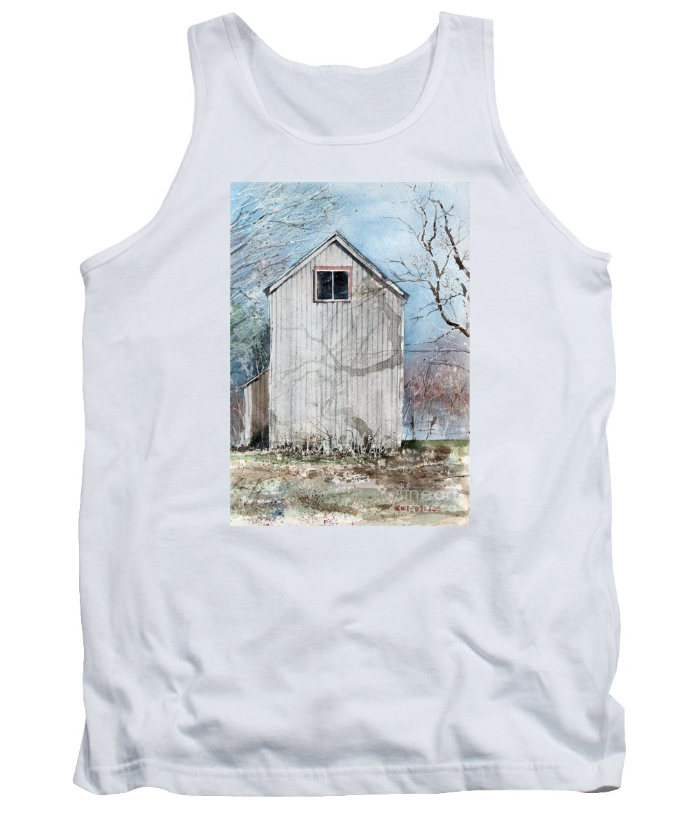 Cast Shadows Decorate The Face Of A Weathering Barn In Wethersfield. Connecticut. Tank Top featuring the painting Springtime by Monte Toon