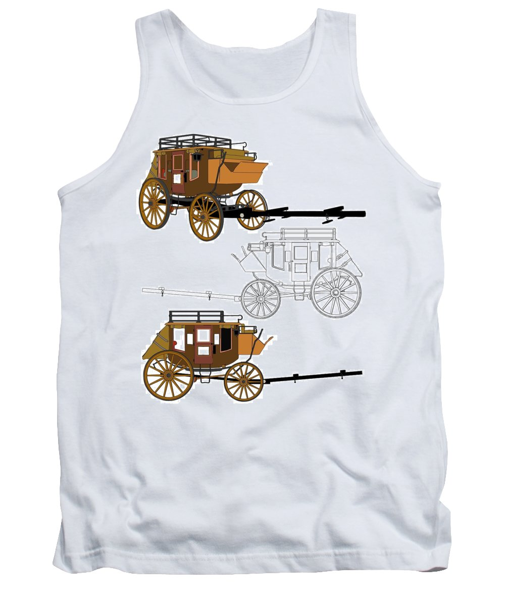 Wagon Tank Top featuring the mixed media Stagecoach Without Horses - Color Sketch Drawing by Nenad Cerovic