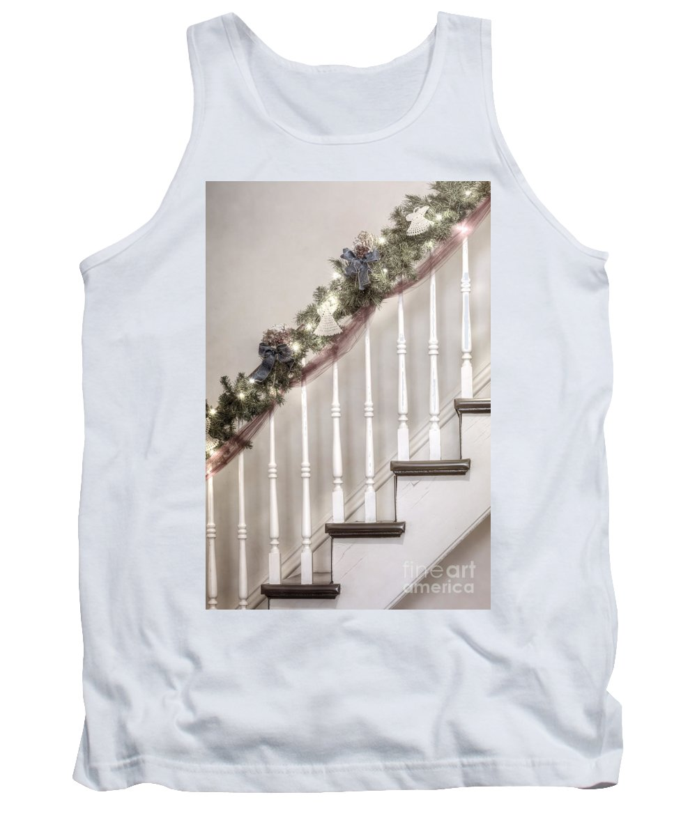 Stairs; Staircase; Side; View; Steps; Wood; Wooden; Details; Railing; Rail; Garland; Greenery; Christmas; Decorations; Angels; Ribbons; Lights; Bows; House; Home; Inside; Indoors; Banister Tank Top featuring the photograph Stairs At Christmas by Margie Hurwich