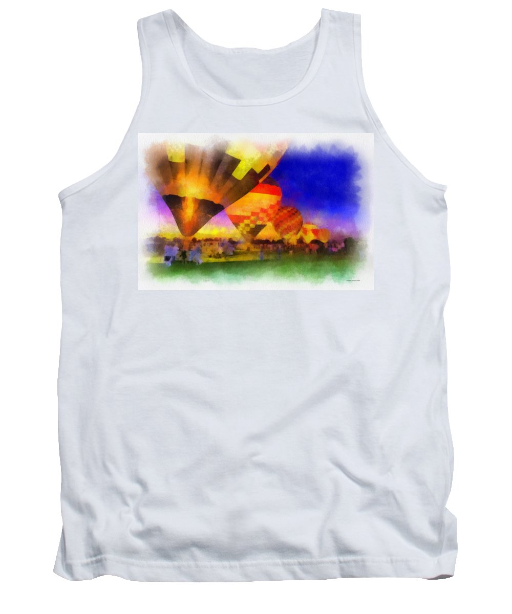 Hot Tank Top featuring the photograph Standbye To Launch Hot Air Balloons Photo Art by Thomas Woolworth
