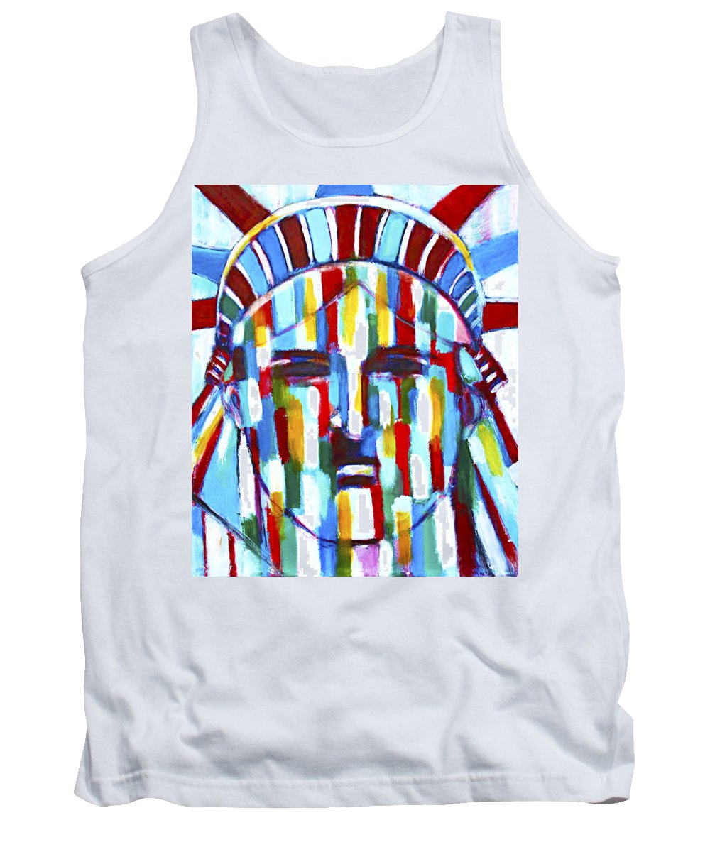 Abstract Tank Top featuring the painting Statue Of Liberty With Colors by Habib Ayat