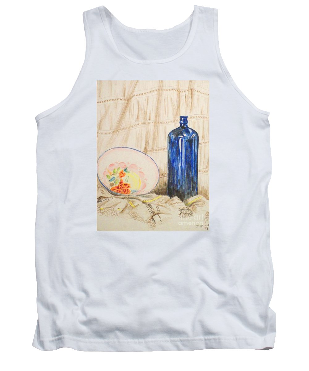 Still-life Tank Top featuring the drawing Still-life With Blue Bottle by Alan Hogan