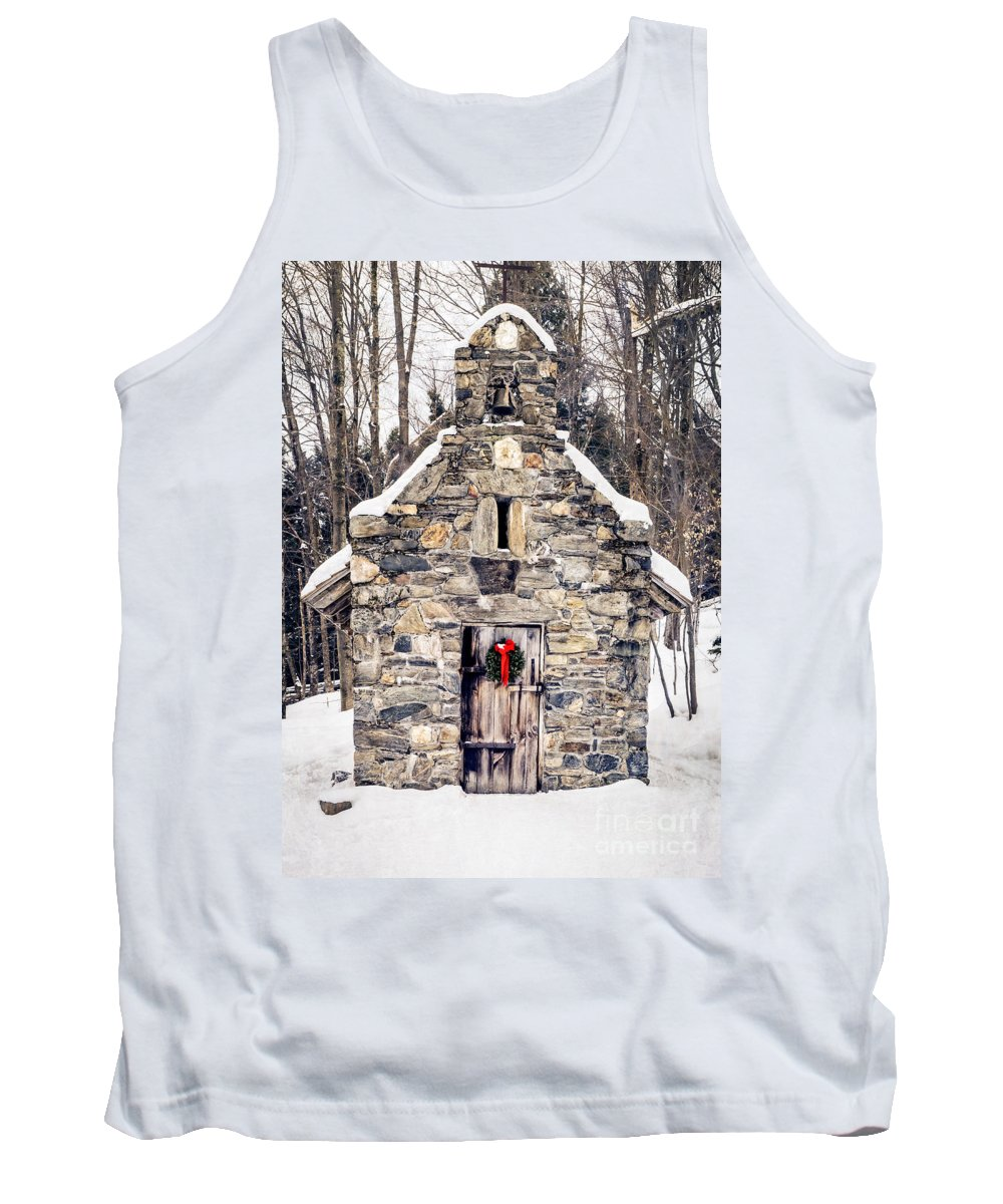 Chapel Tank Top featuring the photograph Stone Chapel In The Woods Trapp Family Lodge Stowe Vermont by Edward Fielding