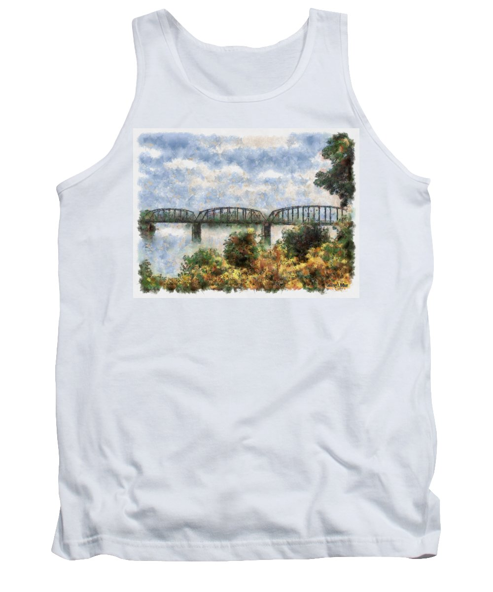 Strang Tank Top featuring the painting Strang Bridge by Jeffrey Kolker