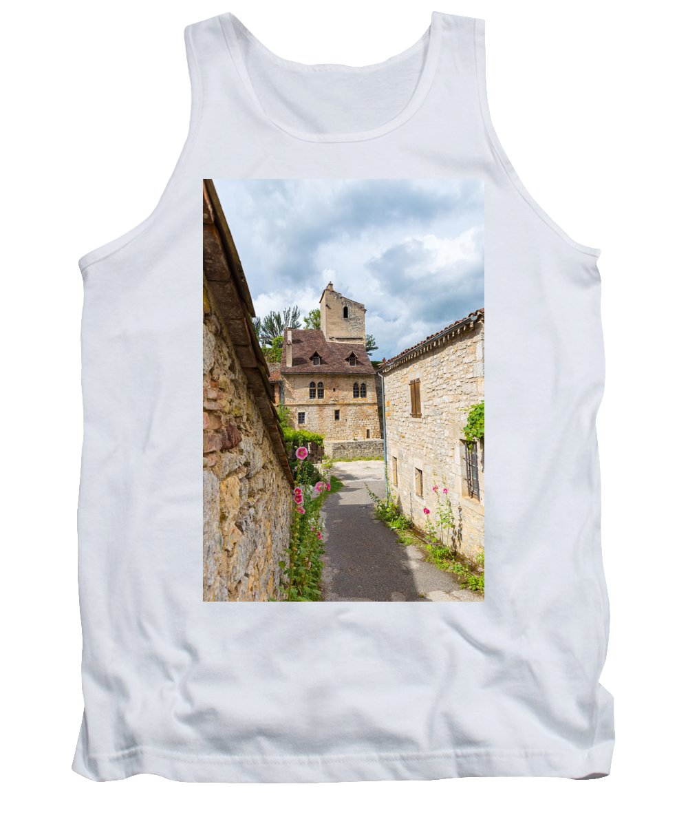Clouds Tank Top featuring the photograph Street In Saint-cirq-lapopie by Semmick Photo