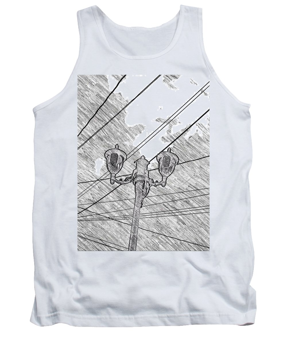 Lamp Tank Top featuring the drawing Street Lamps And Straight Lines by Kathleen Odenthal