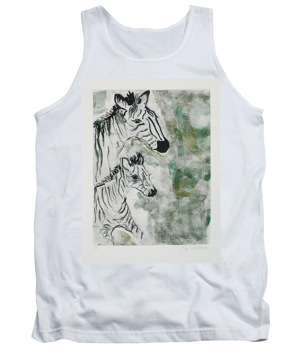 Zebras Tank Top featuring the mixed media Striped Duet by Cori Solomon