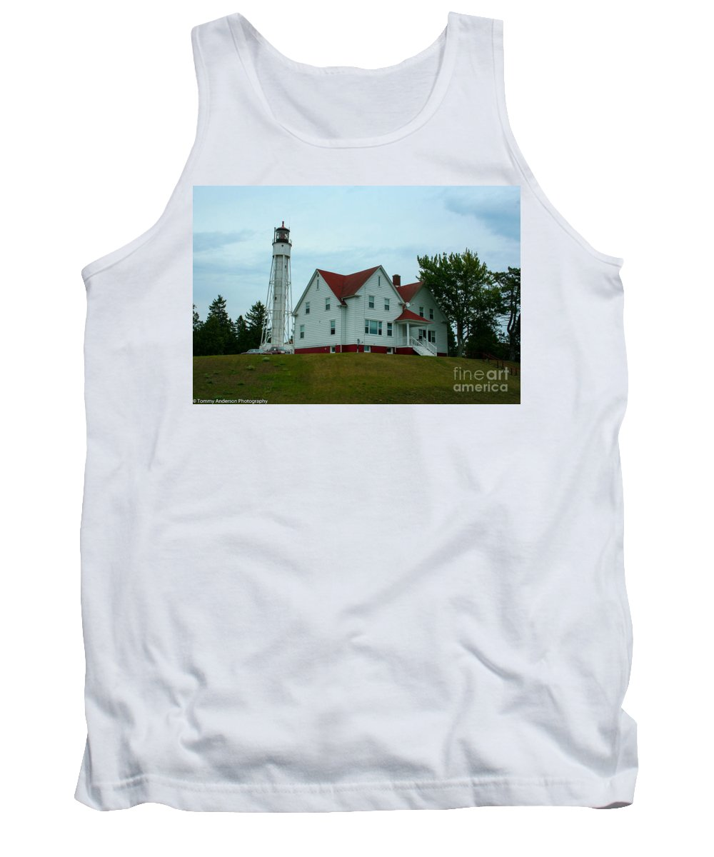 Sturgeon Bay Tank Top featuring the photograph Sturgeon Bay Coast Guard Lighthouse by Tommy Anderson