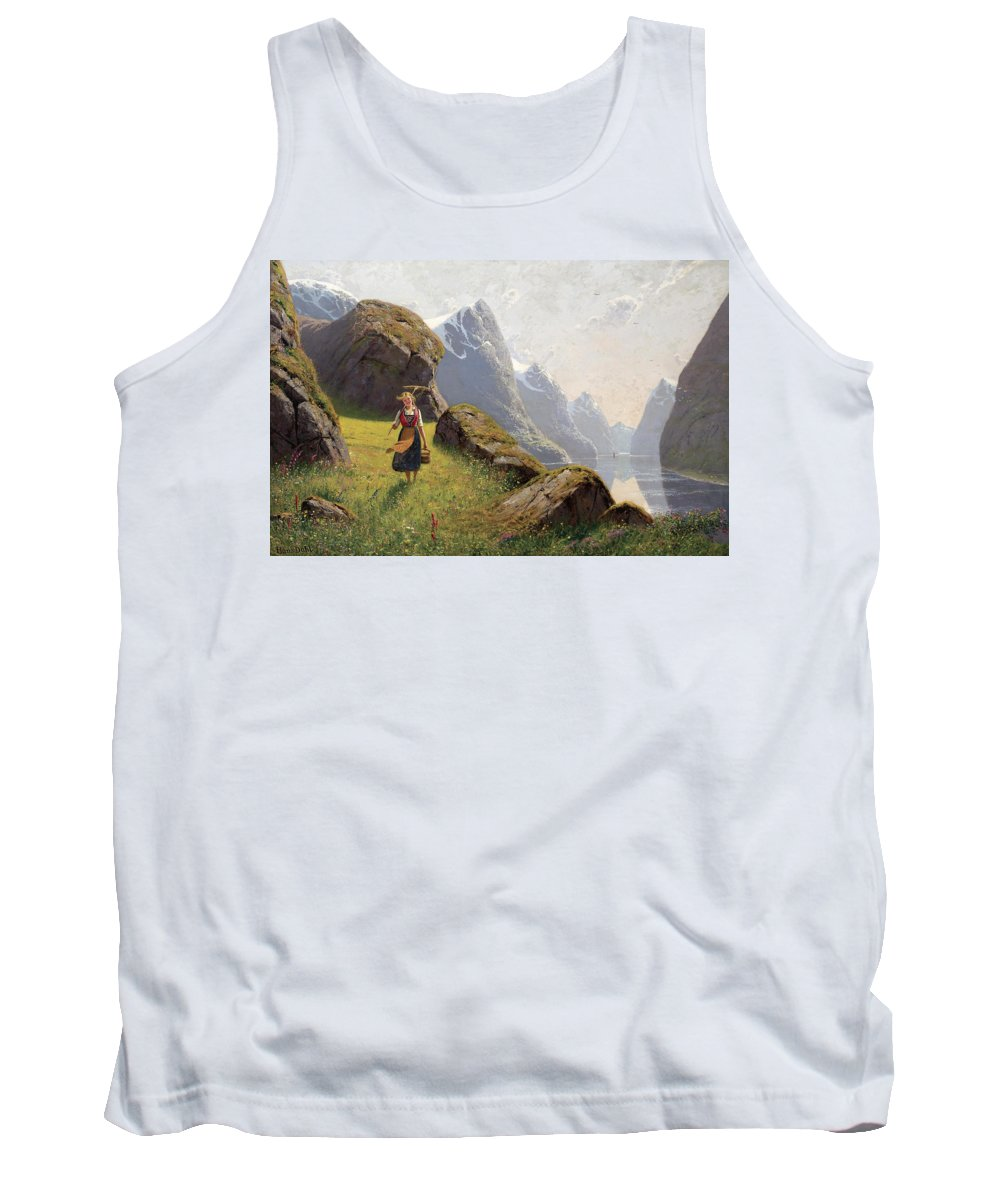 Hans Dahl Tank Top featuring the painting Summer In The Fjord by Hans Dahl