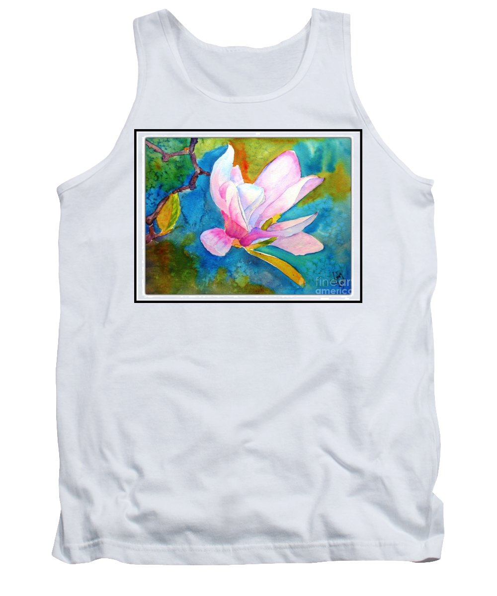 Summer Tank Top featuring the painting Summer Magnolia by Sarabjit Kaur