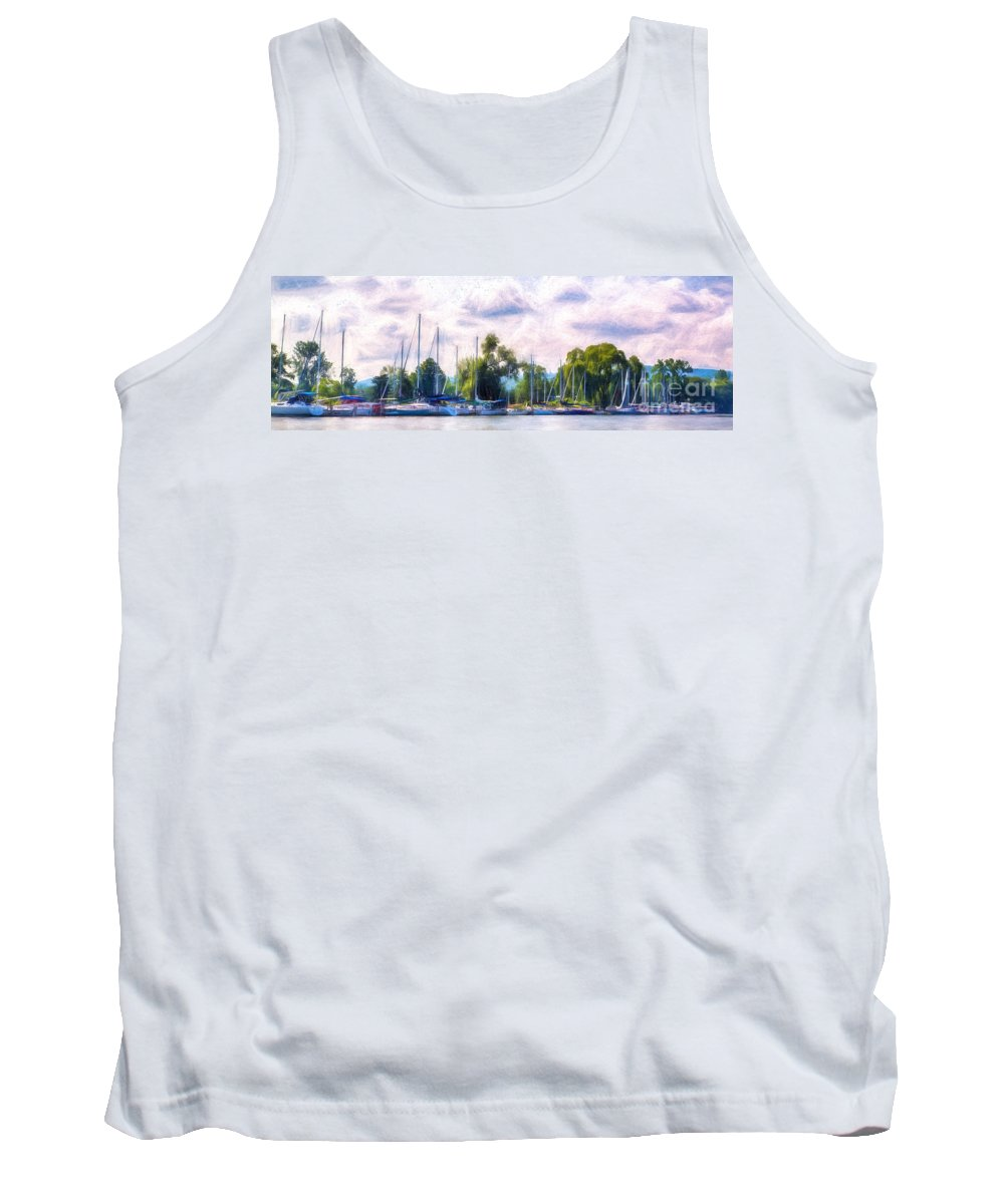 Michele Tank Top featuring the digital art Summer Morning At Johnson's Boatyard by Michele Steffey
