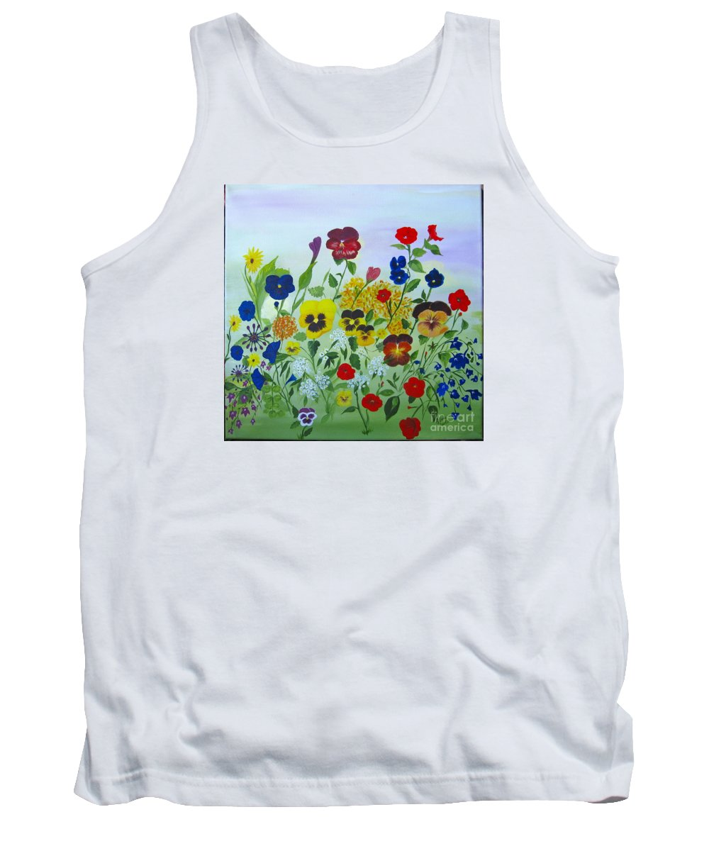 Pansies Tank Top featuring the painting Summer Smiles by Alicia Fowler