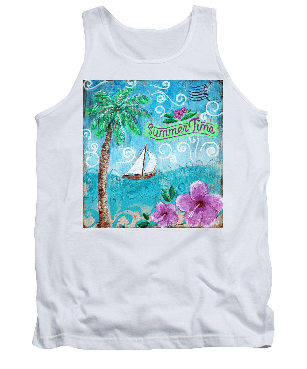 Summertime Tank Top featuring the painting Summertime by Jan Marvin