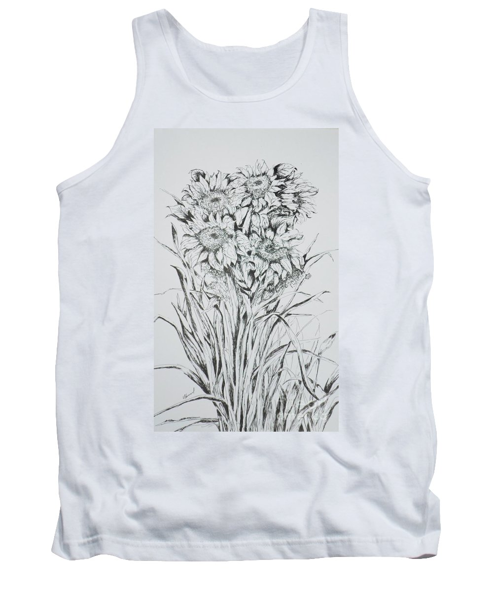 Flowers Tank Top featuring the painting Sunflowers Black And White by Vicki Housel